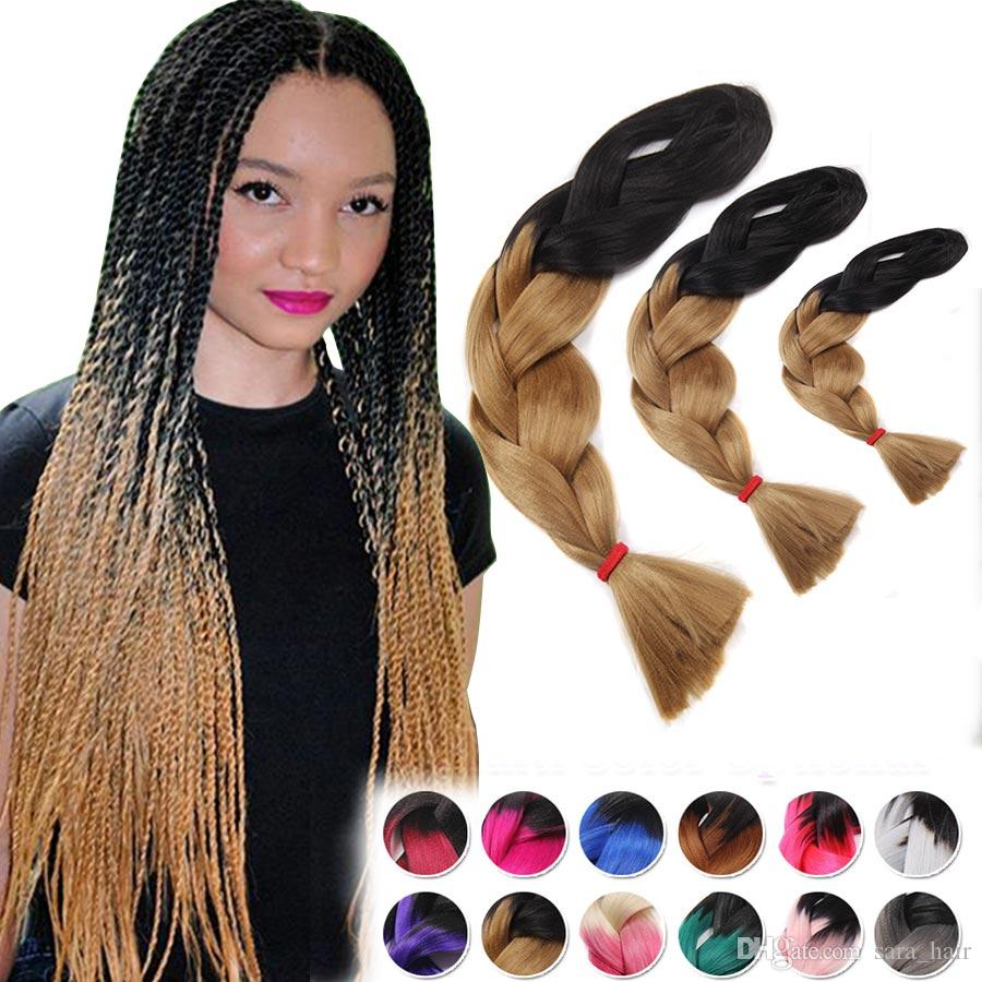 Female ombre two tone gradient jumbo box braids braiding hair see larger image pmusecretfo Images