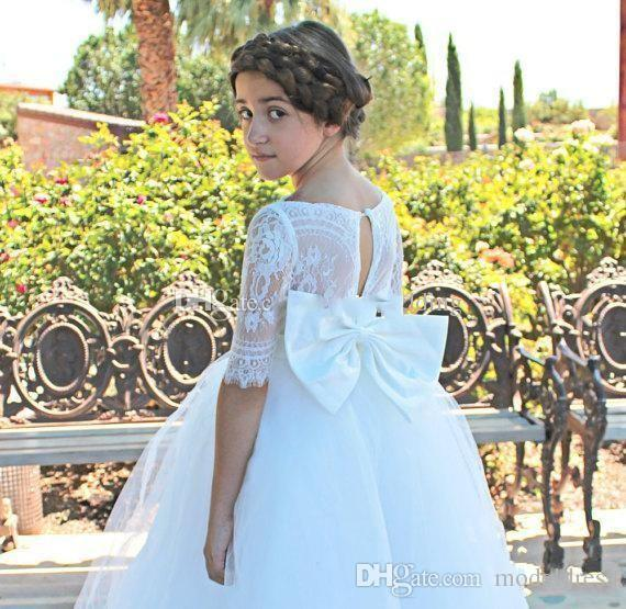 Princess Lace Flower Girls Dresses For Weddings 2018 Half Sleeve Big Bow Ball Gown Long First Communion Dress Child Formal Wear Gowns Cheap