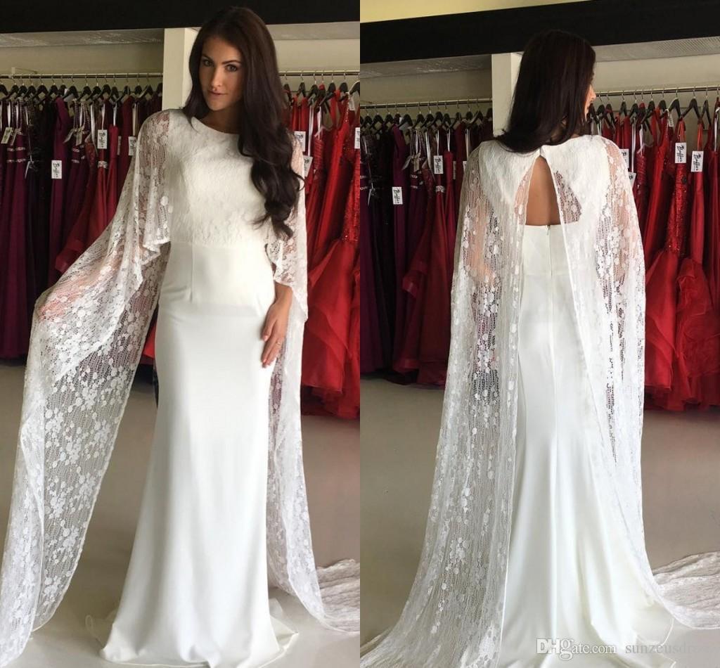 Sheath Long Lace Cape Dress Evening Elegant Floor Length Ivory ...