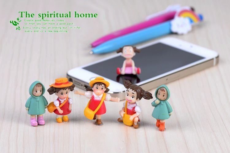 Cute cartoon girls figurines fairy garden miniatures gnomes moss terrariums resin craft for home decor diy dollhouse