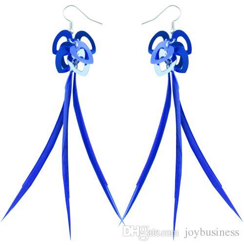Slim Feather Earrings wholesale Love Heart Accessory Light Dangle Eardrop Brown Purple Sky Blue Green Deep Pink GrayJF149
