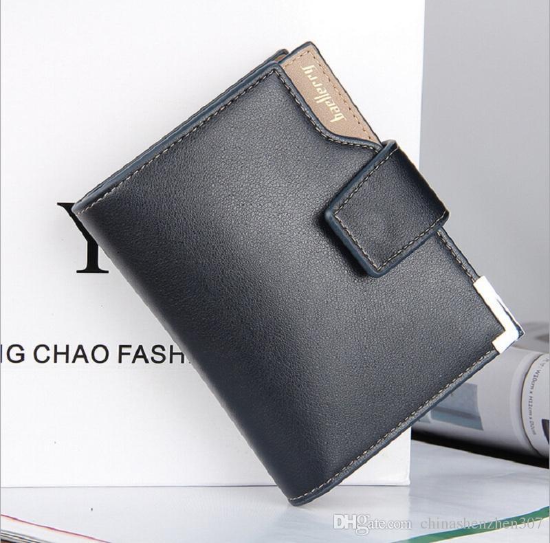 2016 패션 새로운 품질 부드러운 가죽 남자 지갑 수직 섹션 레저 3 접는 Hasp 멀티 신용 카드 홀더 지갑 무료 배송