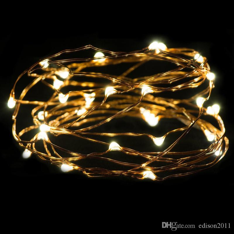 Edison2011 CR2032 Button Battery Operated 20leds Copper Wire Lights 2M String Lights For Christmas Light Festival Wedding Party