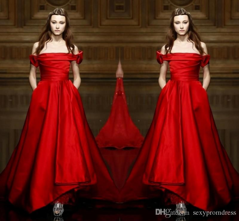 1c47bc33a979a Elegant Simple Red Off Shoulder Evening Gowns 2017 A Line Floor Length Prom  Dresses Cheap Formal Wear Free Shipping Party Dresses