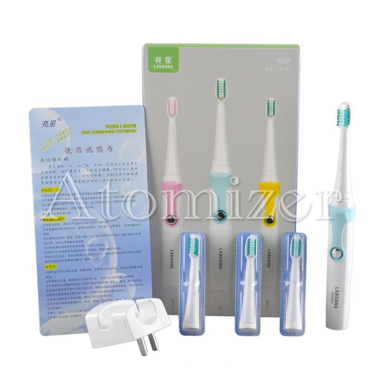 Lansung SN902 Sonic Zahnbürste Wasserdichte Induktive Drahtlose Wiederaufladbare Sonic Elektrische Zahnbürste + 4 stücke Weiche Zahnbürste Kopf DHL 0610004