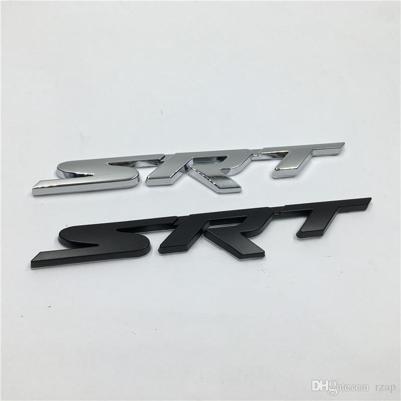 Nouveau Brank En Métal 3D SRT Emblème Chrome Badge Côté Logo Autocollants De Voiture Decal Pour Dodge Ram Challenger Chargeur