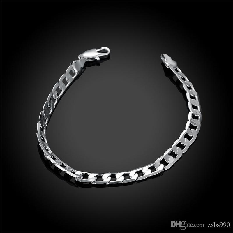 100% nuevo 925 pulsera de cadena de plata Joyería de moda de alta calidad ENVÍO GRATIS / alto 6 MM 8 pulgadas de largo