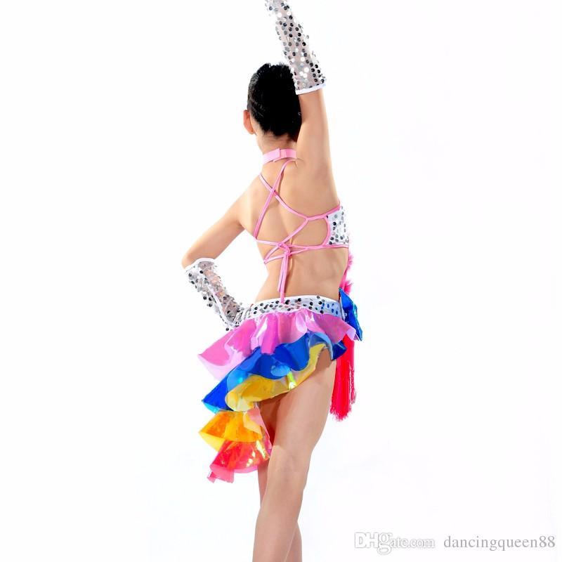 Trajes de baile de las muchachas DressTireNecklaceHand Cuff Vestido de baile de la muchacha latina Vestidos de baile para niños Vestido de los niños del baile