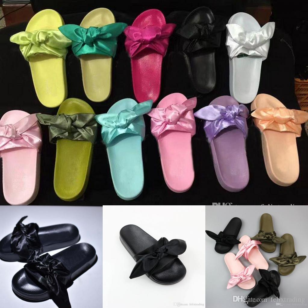 2deffd29cbd4 Hot Sales 2017 Fenty Rihanna Slippers Bow Bandana Slide Slippers Fenty Bow  Slides For Women Indoor Slides With Box And Dust Bags. Shoe Sale Suede  Boots From ...