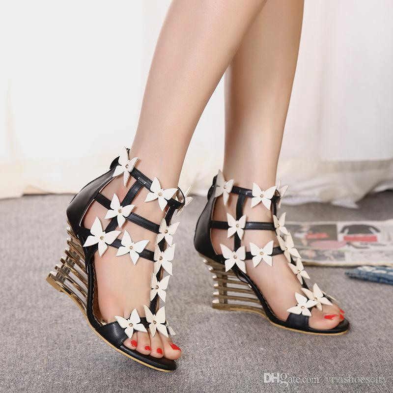 0a26547524e Recommended Strange Wedge Heel Shoes with Flower Shoes Women 9cm ...