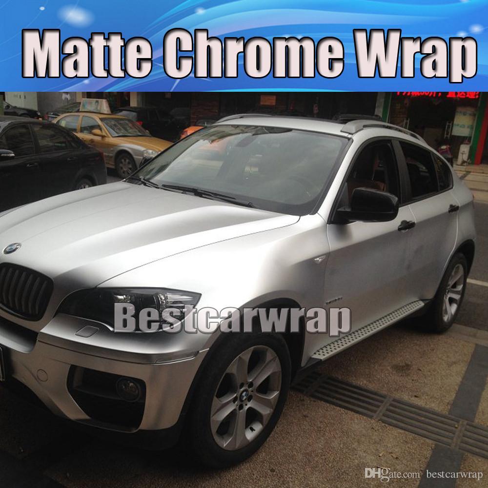 Satin Chrome Silver Vinyl Car Wrap Film Air Release Matte Chrome