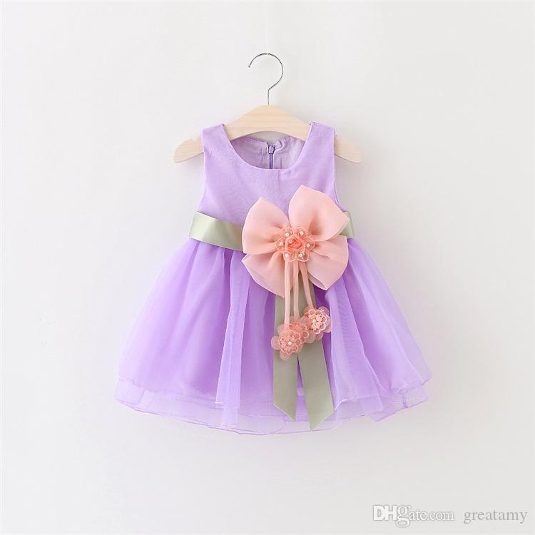 Sleeveless newborn baby girl princess dress with big bow flower infant tutu skirts toddler sundress kids lace boutiques