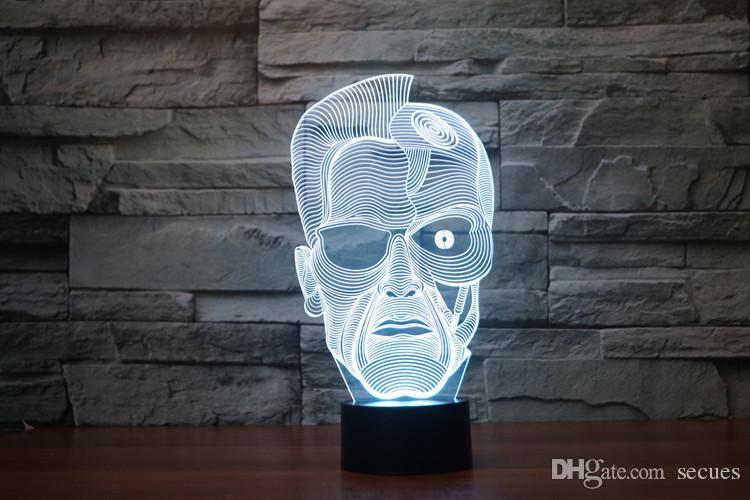 2017 Nouveau design Arnold Schwarzenegger Lampe optique 3D Night Light 9 LED Night Light DC 5V coloré lampe 3D