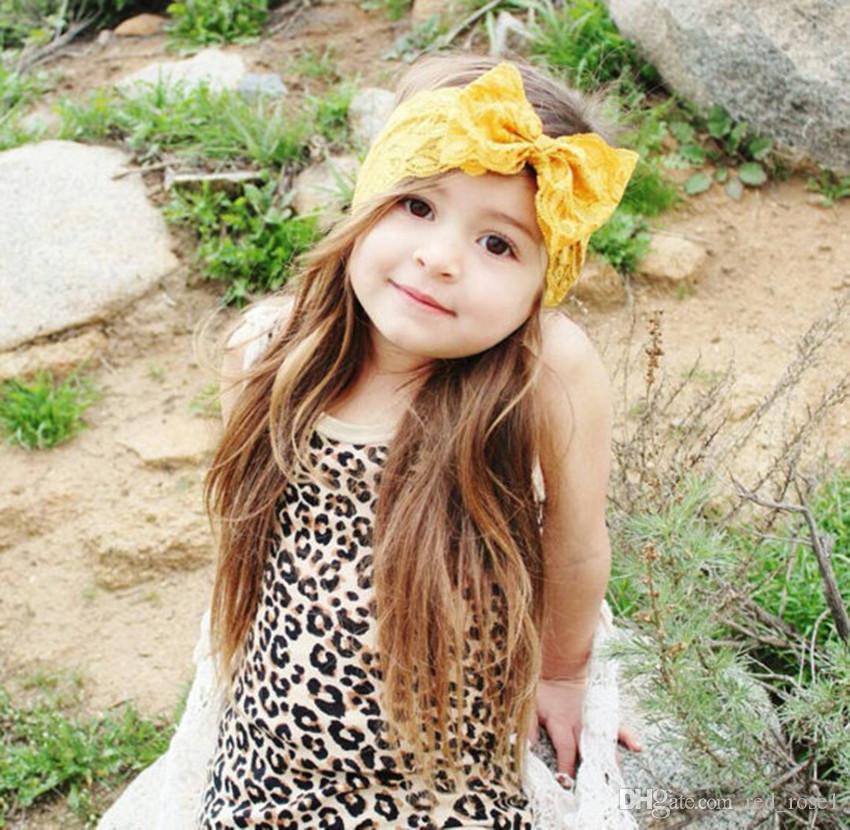 7 컬러 아기 큰 레이스 활 머리띠 소녀 귀여운 헤어 밴드 유아 사랑스러운 머리 랩 어린이 bowknot 탄성 헤어 액세서리