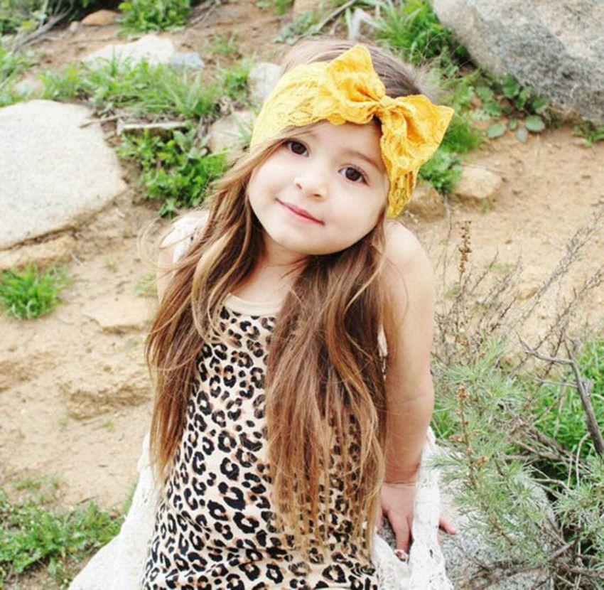 7 Kolor Baby Duży Koronki Bow Opaski Girls Cute Hairband Infant Lovely Headwrap Dzieci Bowknot Elastyczne Akcesoria do włosów