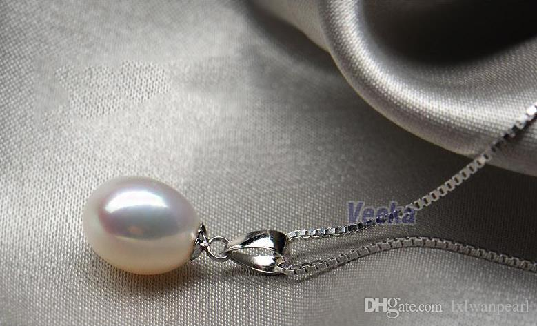 8 ~ 9mm Wassertropfen Weiße Perlen Anhänger 925 Sterling Silber Halskette Anhänger 100% Natürliche Süßwasserperlen Anhänger Klassisch