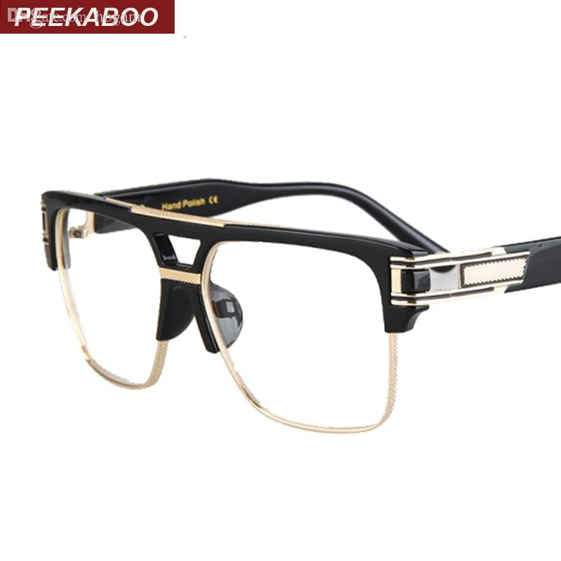 2018 Wholesale 2016 Mens Spectacle Frame Optical Brand Black Gold ...