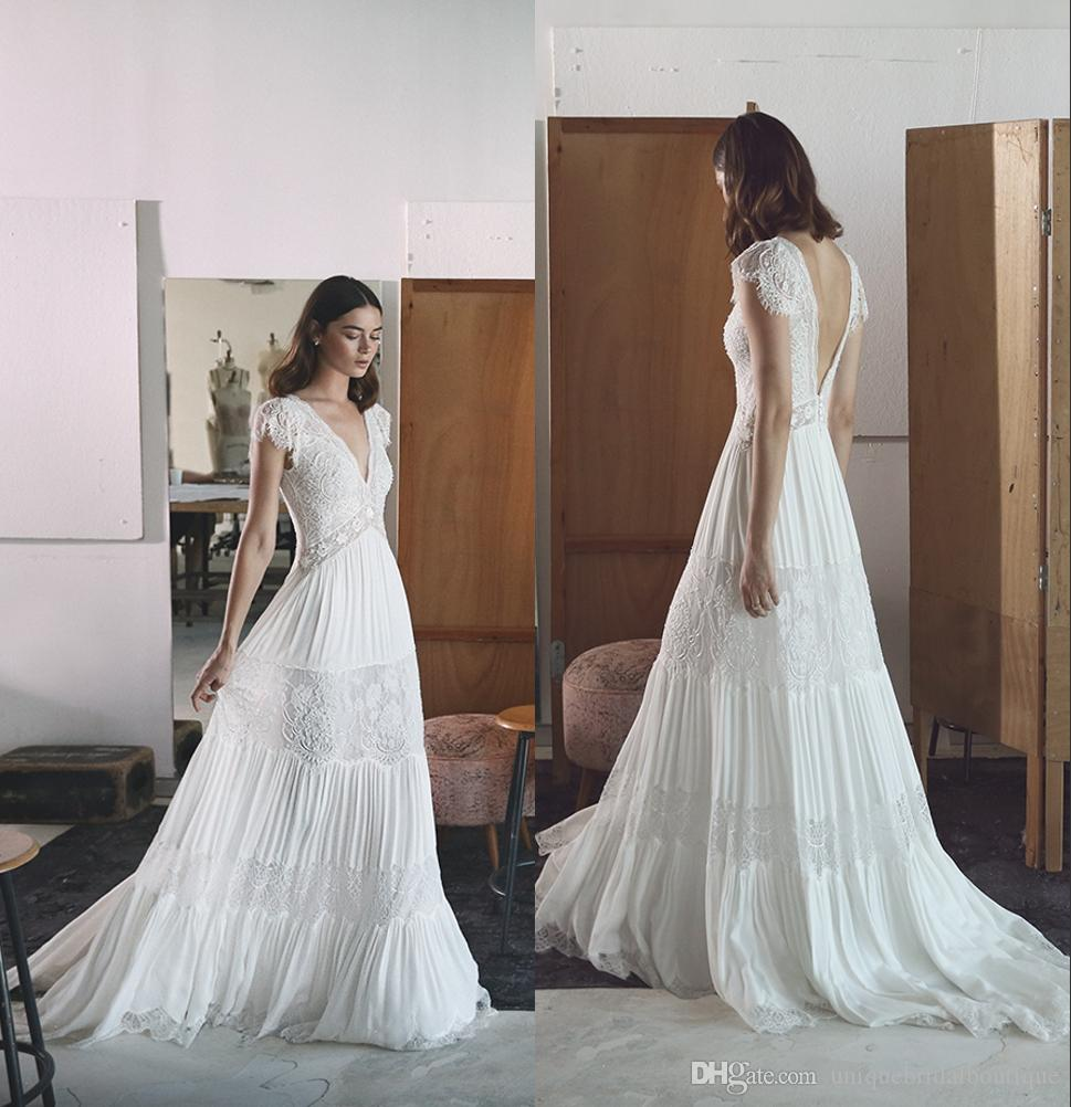 Discount Bohemian Wedding Dresses Lihi Hod 2017 Boho Bridal Gown With Cap Sleeves And Open V Back Lace Romantic A Line Brides Dress Plunging Neck: Romantic Bohemian Wedding Dresses At Websimilar.org