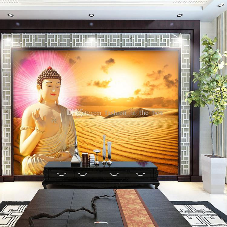 Custom 3d Wallpaper For Wall Golden Buddha Wallpaper Desert Wall Mural  Buddhism Temple Bedroom Livingroom Hotel Corridor Designer Room Decor  Wallpaper High ...