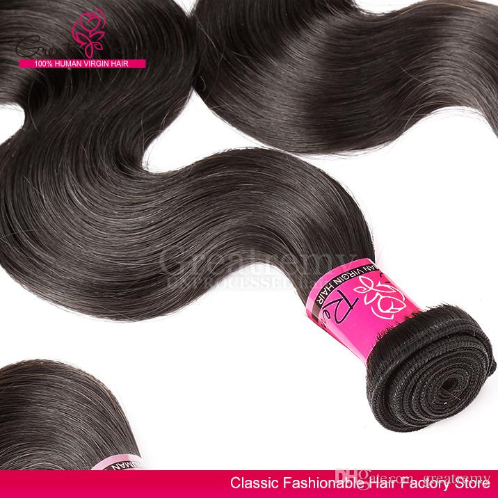 Greatremy® Unprocessed Peruvian Hair Extensions Dyeable Body Wave Virgin Hair Weave Bundles Natural Black Color Hair Weave Weft