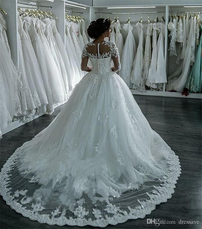 Robe de mariage sexy abiti da sposa Sheer O-Collo del merletto di Applique di A-line 2020 Formal manica lunga Wedding Gown vestidos da sposa