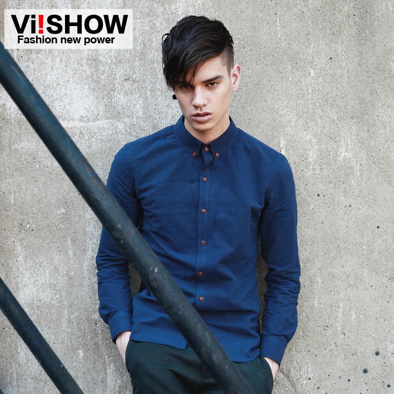 5986e247ac8 Wholesale- VIISHOW Famous Brand Men Shirts Solid Casual Shirt