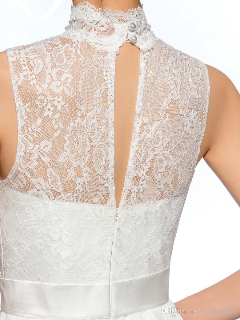2017 cheap lace chiffon short cocktails dress high collar sleeveless sexy backless zipper morden homecoming dress