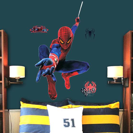 Wall stickers for baby large 3d spiderman wall stickers for kids removable wall decal cartoon movie posters home decoration spider man wall vinyl wall