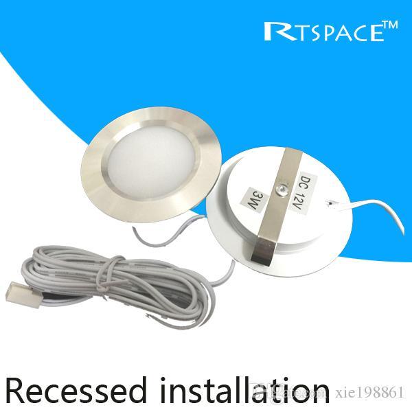 Montage encastré, rondelle LED / luminaire 3W LED DC 12v / projecteur LED avec 2835 leds, coque argentée ou blanche.