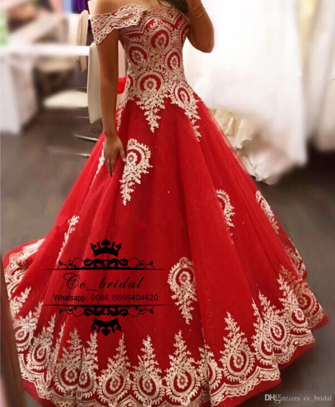 2017 New Red Ball Gown Prom Dresses Gold Appliques Lace Long Evening ...