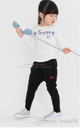Wholesale -2016 new Korean version of spring and autumn children's clothing children's casual harem pants puppy embroidery long pants