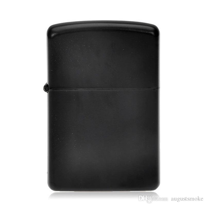 New Fire Retro Metal Black Frosted Windproof Metal Cigarette Lighter Smoking Fuel Lighters Cigarette Case Low-key luxury has connotation