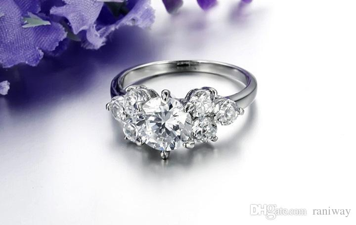 Gorgeous Round Brilliant Heart Arrow Cubic Zirconia Stainless Steel Wedding Engagement Ring Band Set Size 5-9