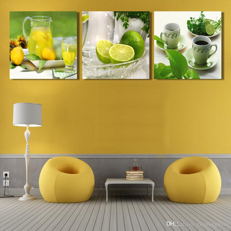 Triptych lemon fruit canvas painting modern wall paintings for home decorative wall art picture paint on canvas prints CF013,no frame