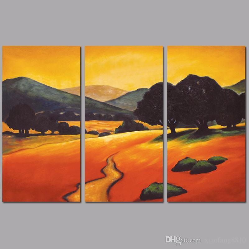 Acheter Jaune Orange Paysage Montagne Arbres Graffiti Decoration Wall Art Photo Affiche Toile Peinture Pour Salon Sans Cadre De 9 13 Du Xiaofang8810 Dhgate Com