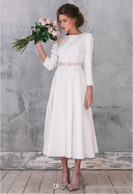 Venta caliente estilo rural Hippie vestidos de novia 2016 O cuello mangas largas más tamaño por encargo de longitud de té vestidos de novia con cristales de marco
