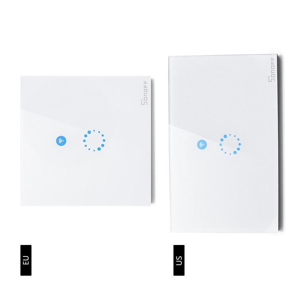 Sonoff Touch Us Eu Plug Wall Wifi Light Switch Glass Panel Touch Led ...