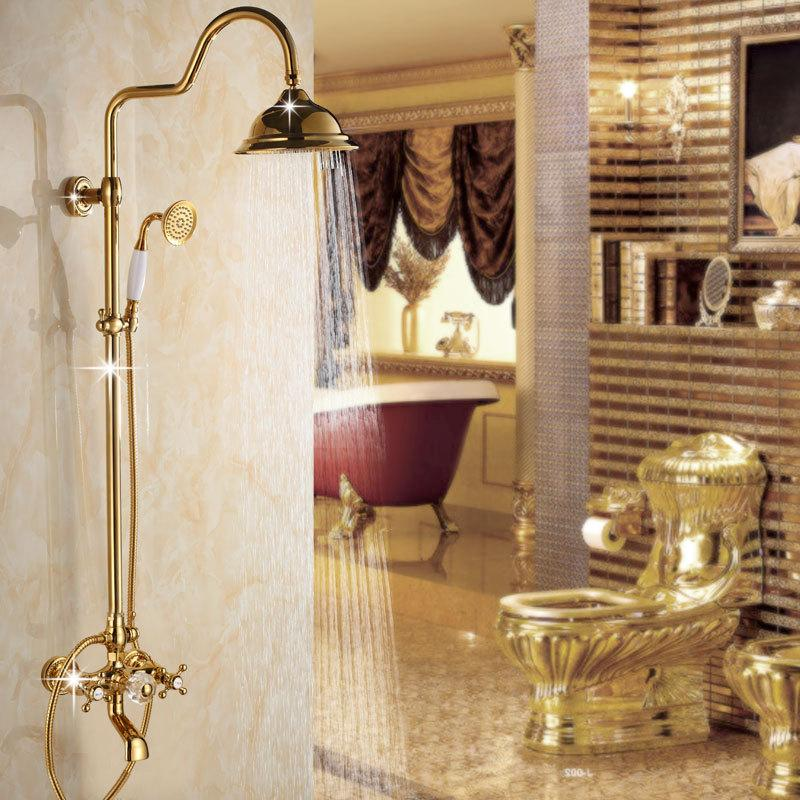 2018 Fashion Gold Polished Shower Sets Brass 3 Function Rainfall ...