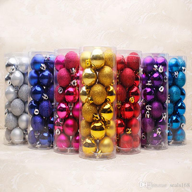 Christmas Ball Xmas Tree Pendant Toys Ornaments Decorations Plastic 24pcs/Barrels 4cm 6cm 8cm Bling Party Wedding Festive Gifts HH-P01