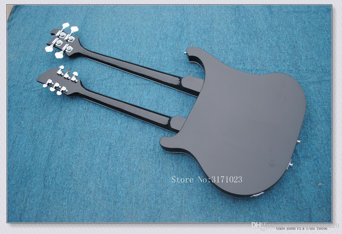 Frete grátis Pessoal Tailor preto Double Neck guitarra Elétrica 64 cordas de baixo Rosewood Fingerboard Pode enviar fotos personalização