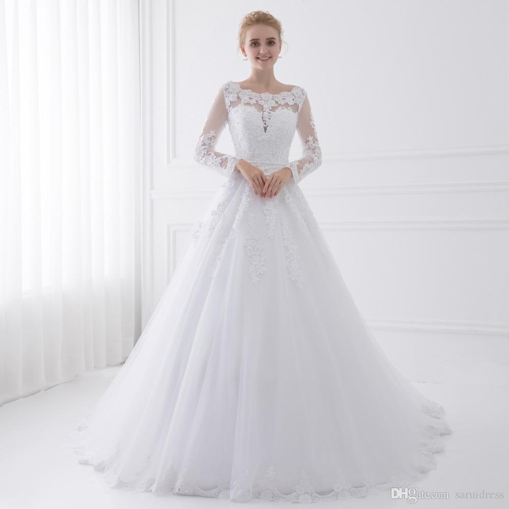 New Arrival Vestido De Noiva Długie Rękaw Suknie Ślubne Sheer Tulle Powrót Sexy Bride Suknie Suknie Ślubne Perły Princess