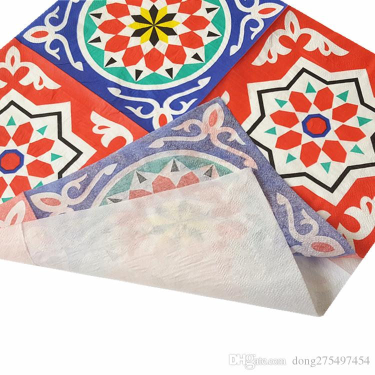 40 napkins table paper towel tissue flower blue red special totem vintage printed decoupage home bar hotel wedding party festive decorative