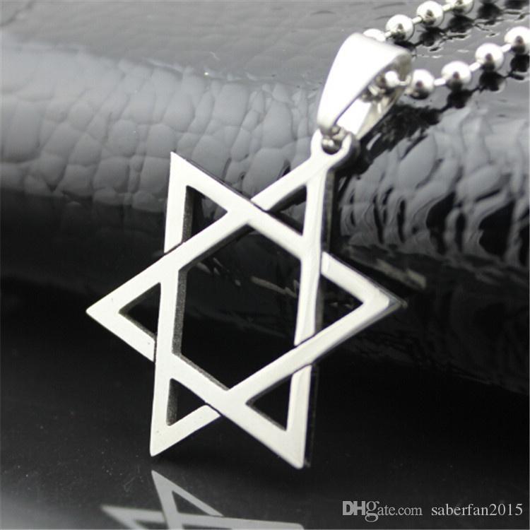 Nuovo arrivo arriva collana in acciaio inox aperto stella di David pendente del cranio catena persone di moda