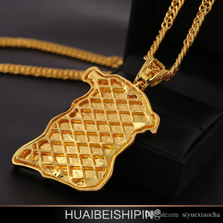Hip Hop JESUS Christ Pendant Necklace With Corn Chain 24K Gold Plated and diamond, hign quality and