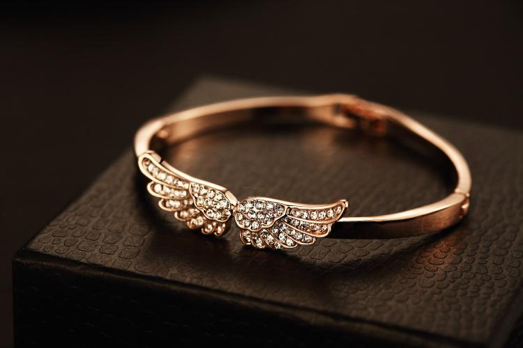 2016 marque designer ange ailes bracelet bracelet Bling Bling cristal bracelet en or rose 18 carats plaqué