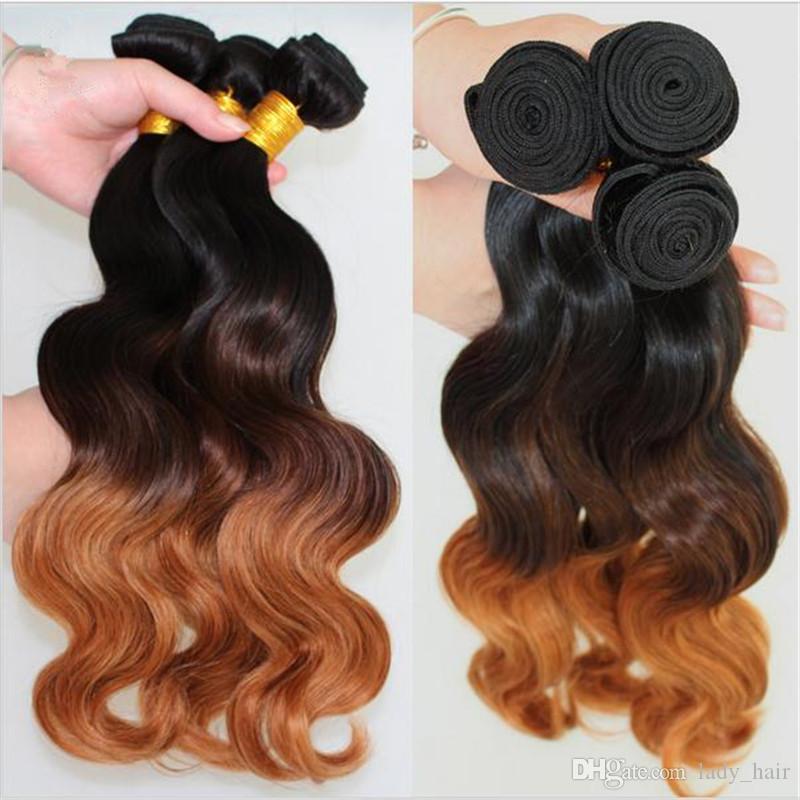 Bakire Brezilyalı Vücut Dalga Dalgalı Ombre Saç Atkı Uzatma # 1B / 4/30 Koyu Kökleri Üç Ton Renkli Insan Saçı Örgü Demetleri 3 Adet