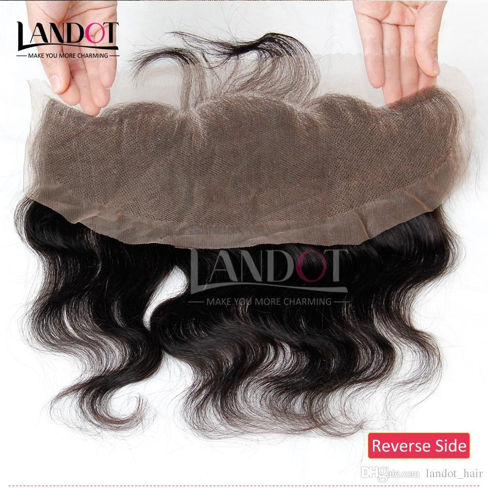 Brazilian Body Wave Lace Frontal Closure Malaysian Indian Peruvian Cambodian Virgin Human Hair Closures Ear To Ear 13x4 Natural Black Color