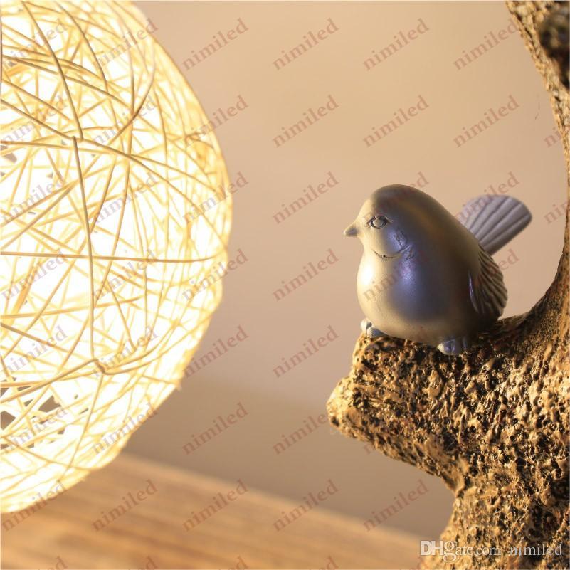 nimi630 중국어 클래식 손으로 - 니트 크리 에이 티브 목가적 인 거실 테이블 램프 침실 베드 사이드 장식 등나무 위더바크 데스크 조명