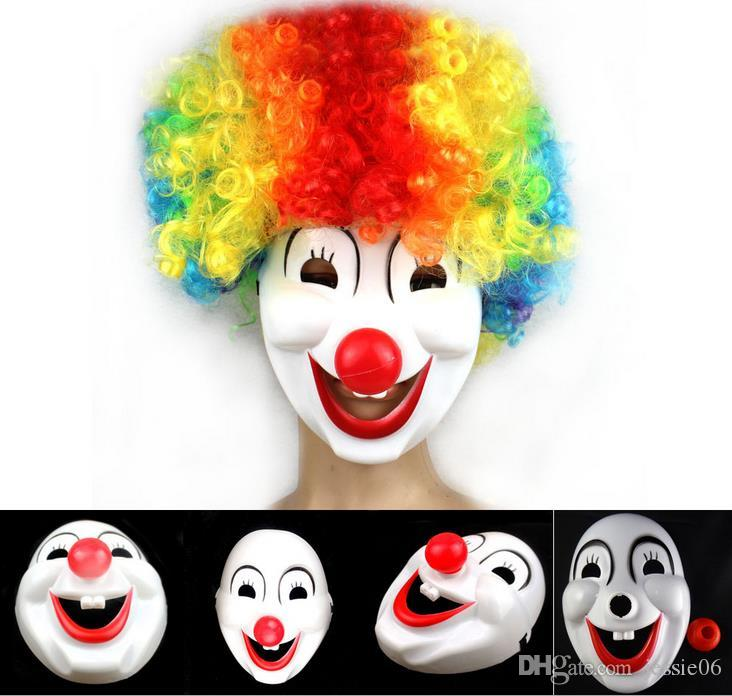 New Halloween Hite Clown Red Nose mask Funny Fancy Dress Party Jester Jolly Mask PVC Masquerade Carnival Masks white festive event supplies