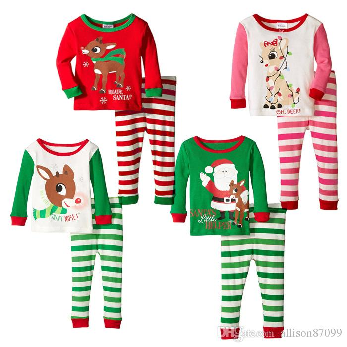 191684e4b1 2019 2016 Christmas Pajamas Baby Girl Outfits Reindeer Santa Claus Sleepwear  Long Sleeve Nightwear Children Christmas Clothing Set Free Express From ...